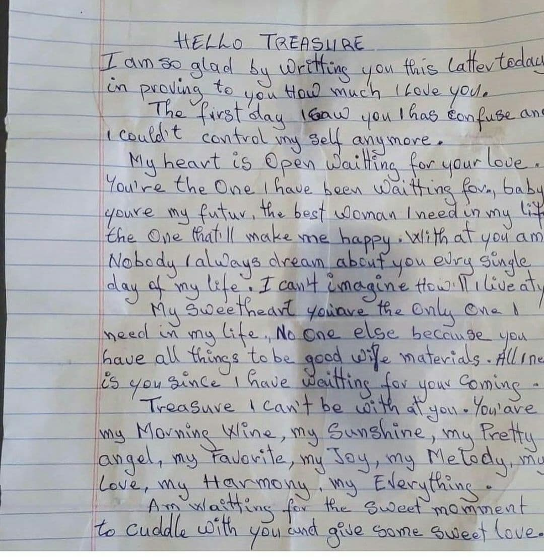39-year-old carpenter arrested for writing love letter to 13-year-old girl [PICTURE]
